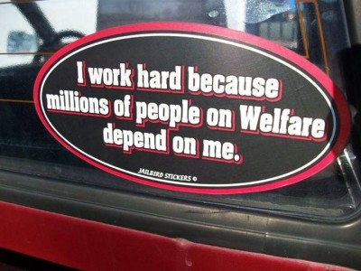 "Country 93.3 Facebook photo: ""I work hard because millions of people on welfare depend on me."""