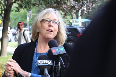 "Elizabeth May: ""The only person on that stage who's never held a private sector job is Stephen Harper."""