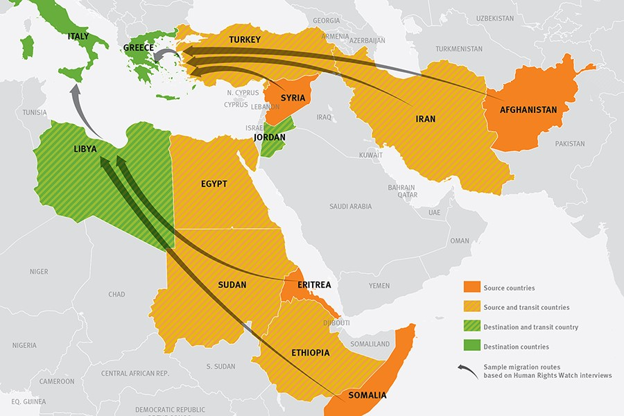 Human Rights Watch 2015 migration routes