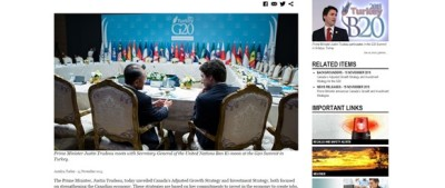 """Prime Minister's Office: Photo caption """"Justin Trudeau meets with Secretary-General of the United Nations Ban Ki-moon."""""""